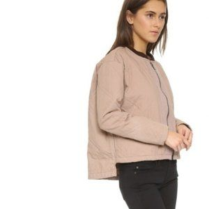 Free People Pink Linear Quilted Jacket